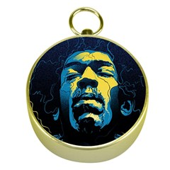 Gabz Jimi Hendrix Voodoo Child Poster Release From Dark Hall Mansion Gold Compasses