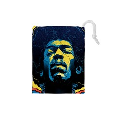 Gabz Jimi Hendrix Voodoo Child Poster Release From Dark Hall Mansion Drawstring Pouches (Small)