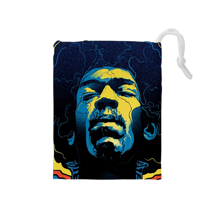 Gabz Jimi Hendrix Voodoo Child Poster Release From Dark Hall Mansion Drawstring Pouches (Medium)