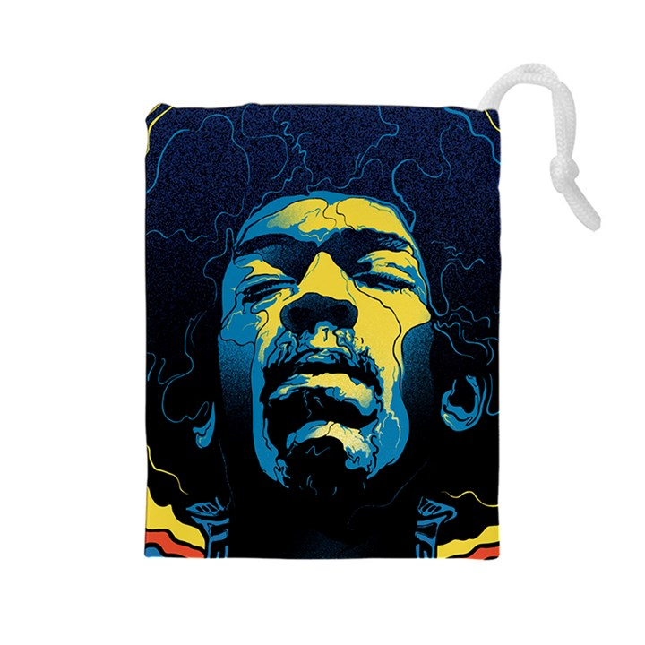 Gabz Jimi Hendrix Voodoo Child Poster Release From Dark Hall Mansion Drawstring Pouches (Large)