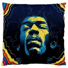 Gabz Jimi Hendrix Voodoo Child Poster Release From Dark Hall Mansion Large Flano Cushion Case (Two Sides)