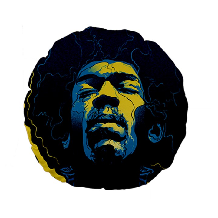 Gabz Jimi Hendrix Voodoo Child Poster Release From Dark Hall Mansion Standard 15  Premium Flano Round Cushions