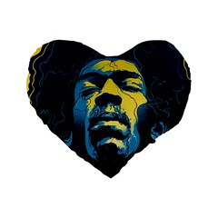 Gabz Jimi Hendrix Voodoo Child Poster Release From Dark Hall Mansion Standard 16  Premium Flano Heart Shape Cushions