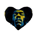Gabz Jimi Hendrix Voodoo Child Poster Release From Dark Hall Mansion Standard 16  Premium Flano Heart Shape Cushions Back