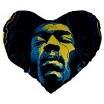 Gabz Jimi Hendrix Voodoo Child Poster Release From Dark Hall Mansion Large 19  Premium Flano Heart Shape Cushions Back