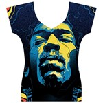 Gabz Jimi Hendrix Voodoo Child Poster Release From Dark Hall Mansion Women s V-Neck Cap Sleeve Top Front