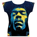 Gabz Jimi Hendrix Voodoo Child Poster Release From Dark Hall Mansion Women s V-Neck Cap Sleeve Top Back