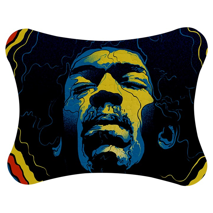 Gabz Jimi Hendrix Voodoo Child Poster Release From Dark Hall Mansion Jigsaw Puzzle Photo Stand (Bow)