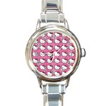 Hello Kitty Patterns Round Italian Charm Watch Front