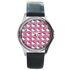 Hello Kitty Patterns Round Metal Watch