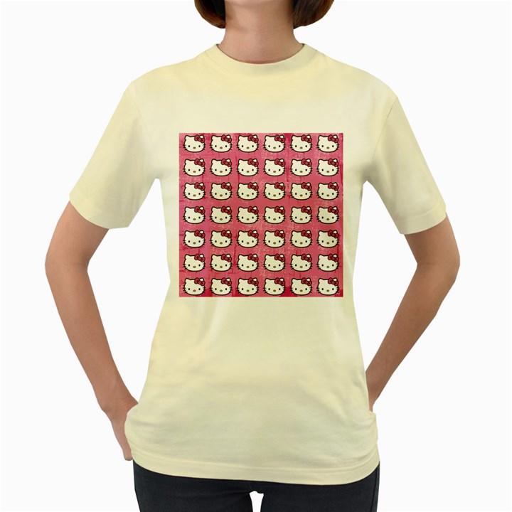 Hello Kitty Patterns Women s Yellow T-Shirt