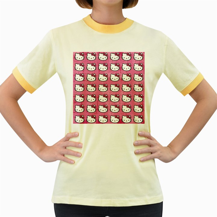 Hello Kitty Patterns Women s Fitted Ringer T-Shirts