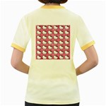 Hello Kitty Patterns Women s Fitted Ringer T-Shirts Back