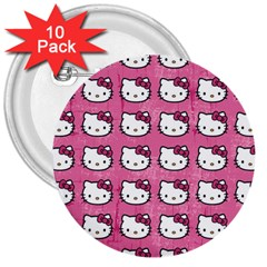 Hello Kitty Patterns 3  Buttons (10 pack)
