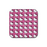 Hello Kitty Patterns Rubber Coaster (Square)  Front