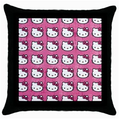 Hello Kitty Patterns Throw Pillow Case (Black)