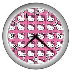 Hello Kitty Patterns Wall Clocks (Silver)
