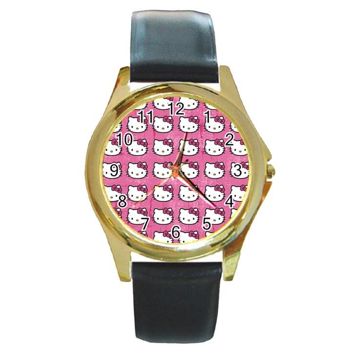 Hello Kitty Patterns Round Gold Metal Watch