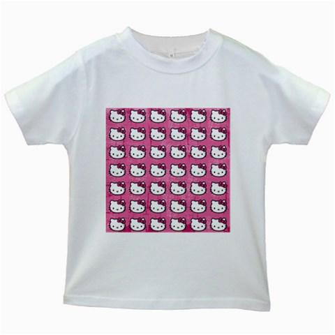 Hello Kitty Patterns Kids White T-Shirts