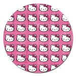 Hello Kitty Patterns Magnet 5  (Round) Front