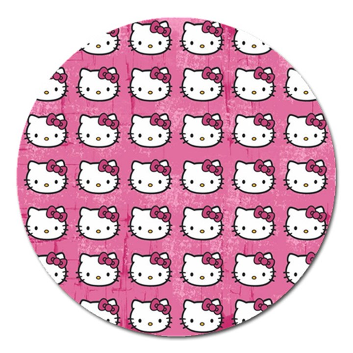 Hello Kitty Patterns Magnet 5  (Round)