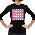Hello Kitty Patterns Women s Long Sleeve Dark T-Shirts Front