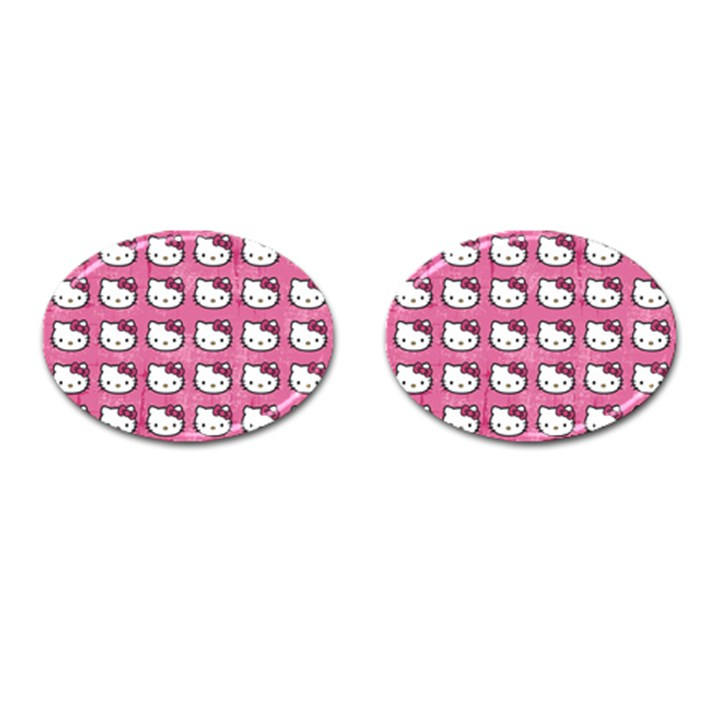 Hello Kitty Patterns Cufflinks (Oval)