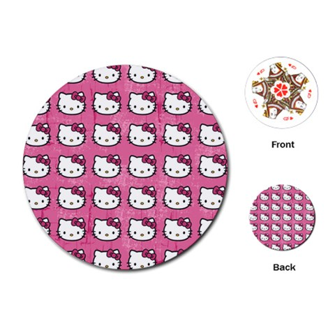Hello Kitty Patterns Playing Cards (Round)