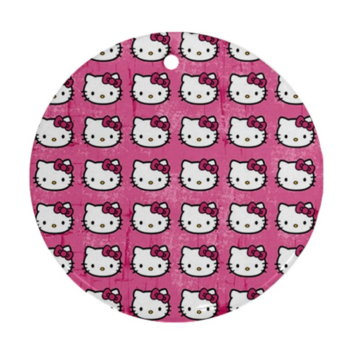 Hello Kitty Patterns Round Ornament (Two Sides)