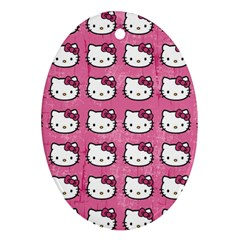 Hello Kitty Patterns Oval Ornament (Two Sides)