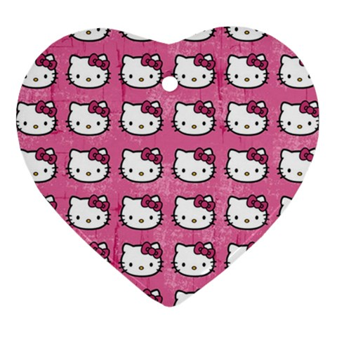 Hello Kitty Patterns Heart Ornament (2 Sides)