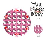 Hello Kitty Patterns Playing Cards 54 (Round)  Front - Heart6