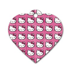 Hello Kitty Patterns Dog Tag Heart (Two Sides)