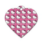 Hello Kitty Patterns Dog Tag Heart (Two Sides) Back