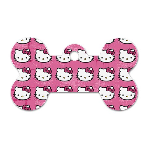 Hello Kitty Patterns Dog Tag Bone (Two Sides)