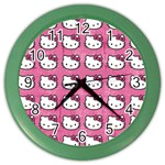 Hello Kitty Patterns Color Wall Clocks Front
