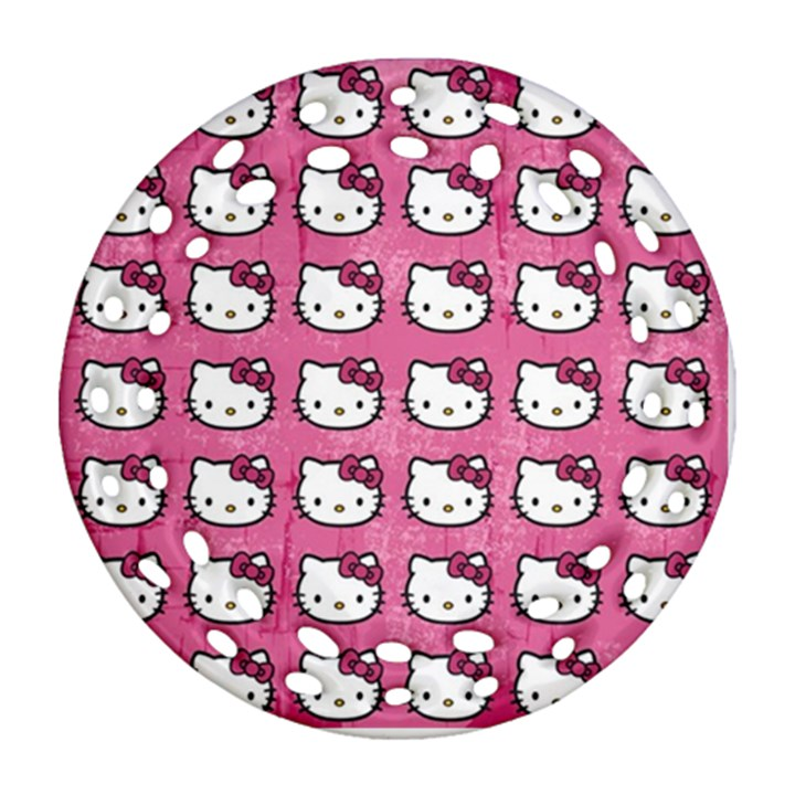 Hello Kitty Patterns Round Filigree Ornament (2Side)