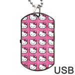 Hello Kitty Patterns Dog Tag USB Flash (Two Sides)  Front