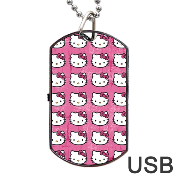 Hello Kitty Patterns Dog Tag USB Flash (Two Sides)