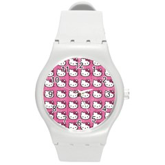 Hello Kitty Patterns Round Plastic Sport Watch (M)