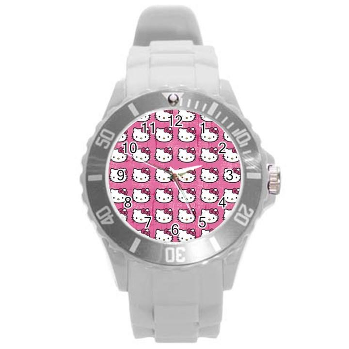Hello Kitty Patterns Round Plastic Sport Watch (L)