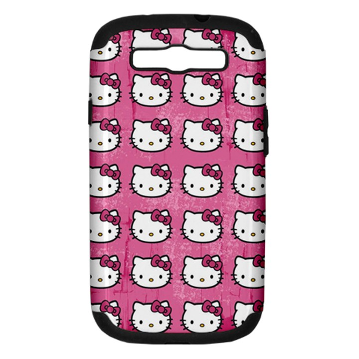 Hello Kitty Patterns Samsung Galaxy S III Hardshell Case (PC+Silicone)