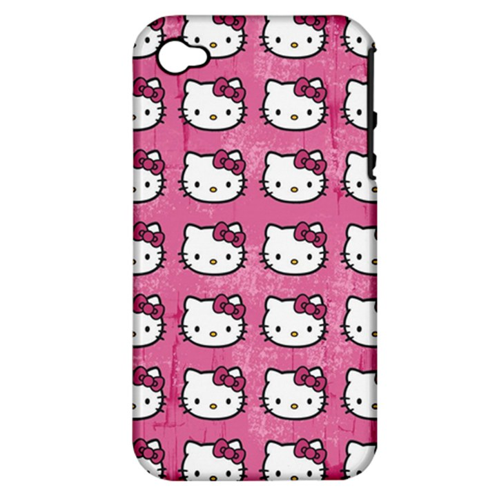 Hello Kitty Patterns Apple iPhone 4/4S Hardshell Case (PC+Silicone)