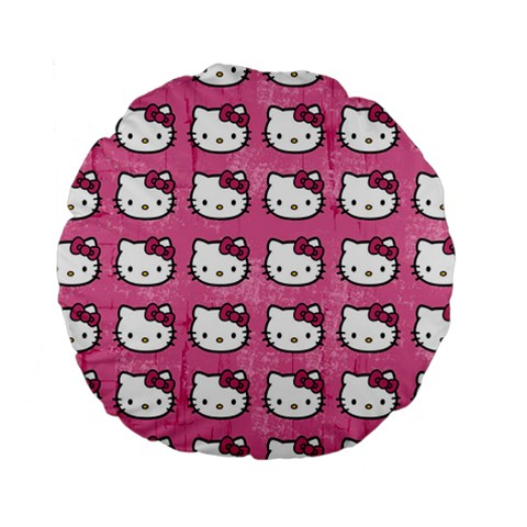Hello Kitty Patterns Standard 15  Premium Round Cushions
