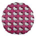 Hello Kitty Patterns Large 18  Premium Round Cushions Back