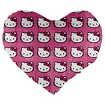 Hello Kitty Patterns Large 19  Premium Heart Shape Cushions Front