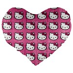 Hello Kitty Patterns Large 19  Premium Heart Shape Cushions Back