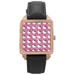 Hello Kitty Patterns Rose Gold Leather Watch