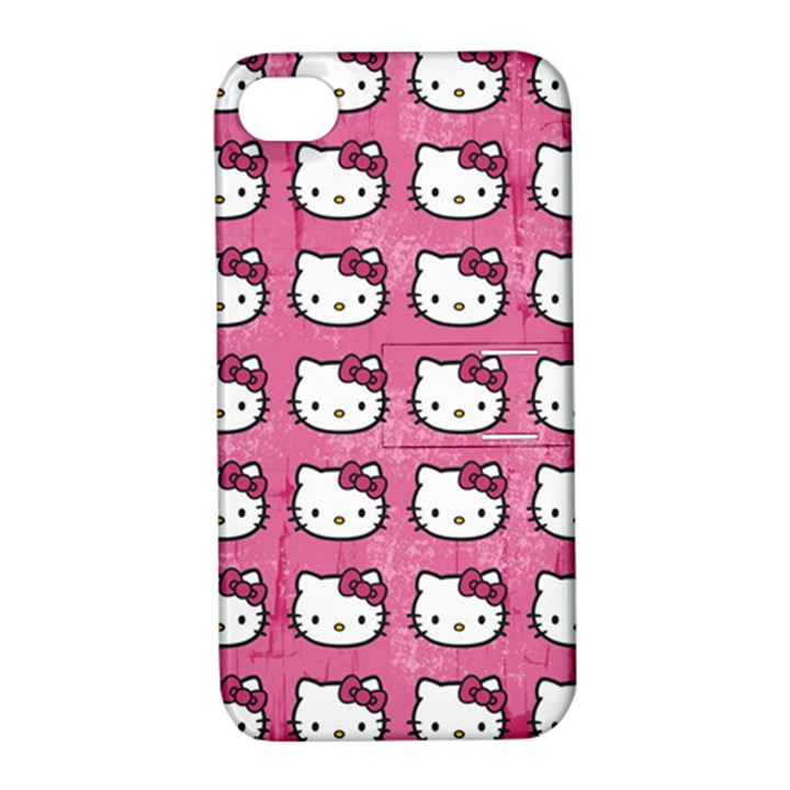Hello Kitty Patterns Apple iPhone 4/4S Hardshell Case with Stand