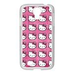 Hello Kitty Patterns Samsung GALAXY S4 I9500/ I9505 Case (White) Front